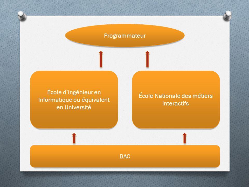 Programmateur BAC École Nationale des métiers Interactifs École dingénieur en Informatique ou équivalent en Université