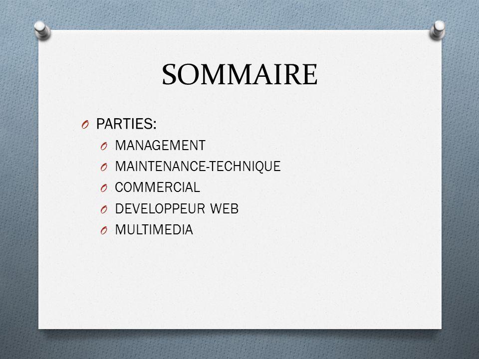SOMMAIRE O PARTIES: O MANAGEMENT O MAINTENANCE-TECHNIQUE O COMMERCIAL O DEVELOPPEUR WEB O MULTIMEDIA