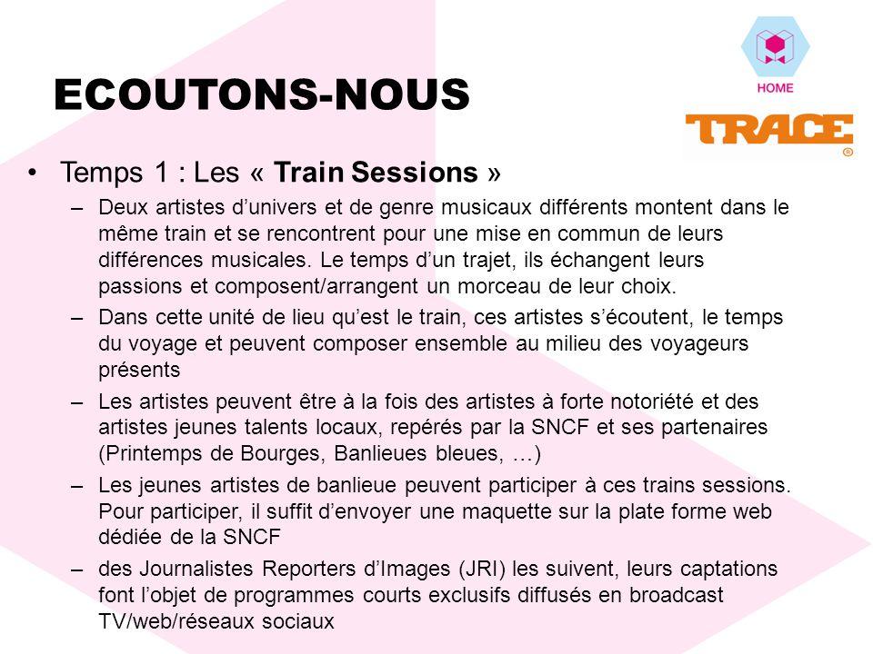 Temps 1 : Les « Train Sessions » –Deux artistes dunivers et de genre musicaux différents montent dans le même train et se rencontrent pour une mise en commun de leurs différences musicales.