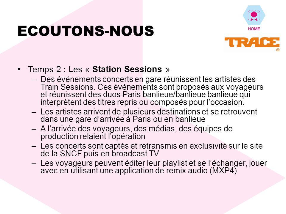 Temps 2 : Les « Station Sessions » –Des événements concerts en gare réunissent les artistes des Train Sessions.