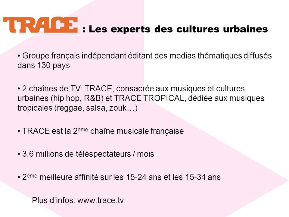 : Les experts des cultures urbaines Groupe français indépendant éditant des medias thématiques diffusés dans 130 pays 2 chaînes de TV: TRACE, consacrée aux musiques et cultures urbaines (hip hop, R&B) et TRACE TROPICAL, dédiée aux musiques tropicales (reggae, salsa, zouk…) TRACE est la 2 ème chaîne musicale française 3,6 millions de téléspectateurs / mois 2 ème meilleure affinité sur les 15-24 ans et les 15-34 ans Plus dinfos: www.trace.tv