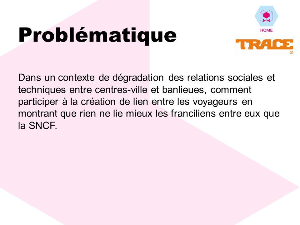 Problématique Dans un contexte de dégradation des relations sociales et techniques entre centres-ville et banlieues, comment participer à la création de lien entre les voyageurs en montrant que rien ne lie mieux les franciliens entre eux que la SNCF.