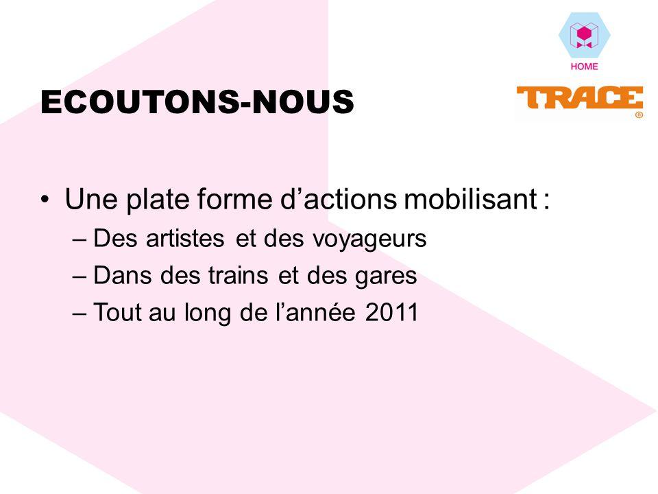 A compter du printemps 2011, une série dévénements, spontanés et programmés, portés par la SNCF, se déroulent dans les trains et les gares, montrant tous la même proposition : « Cest en sécoutant que lon se rapproche » ECOUTONS-NOUS
