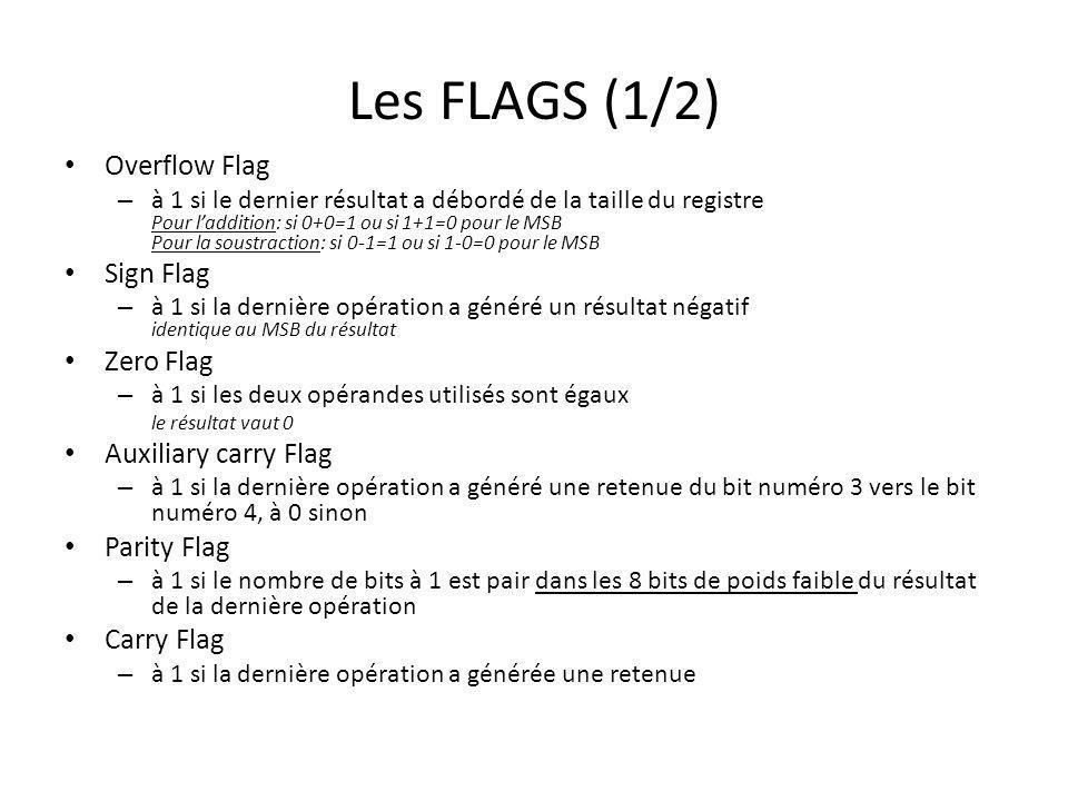 Les FLAGS (1/2) Overflow Flag – à 1 si le dernier résultat a débordé de la taille du registre Pour laddition: si 0+0=1 ou si 1+1=0 pour le MSB Pour la