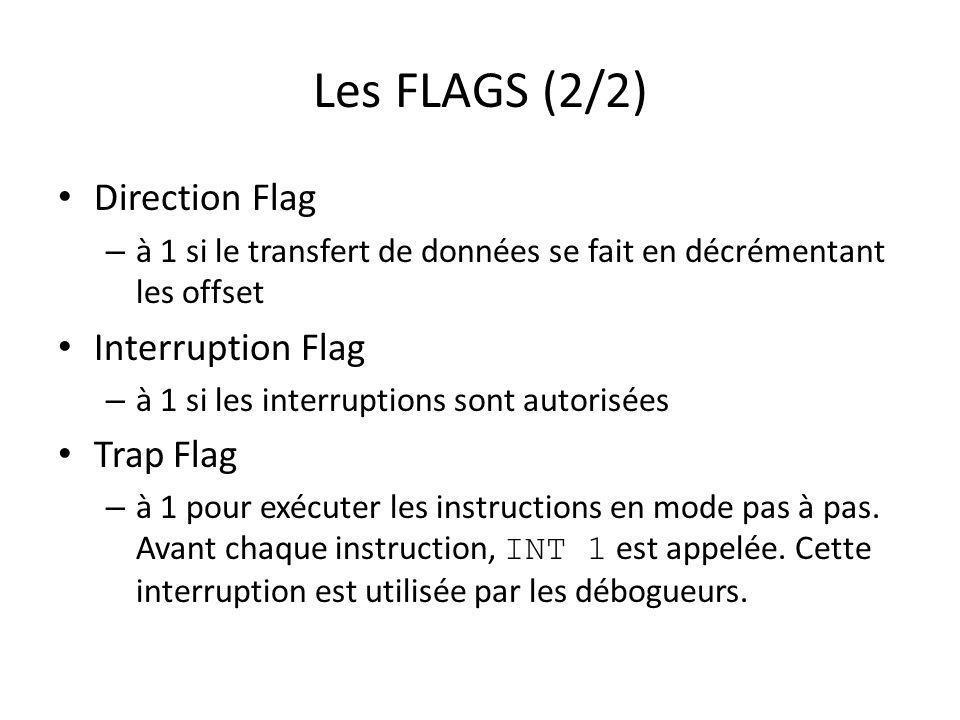 Les FLAGS (2/2) Direction Flag – à 1 si le transfert de données se fait en décrémentant les offset Interruption Flag – à 1 si les interruptions sont a