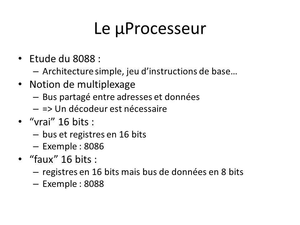 Le µProcesseur Etude du 8088 : – Architecture simple, jeu dinstructions de base… Notion de multiplexage – Bus partagé entre adresses et données – => U
