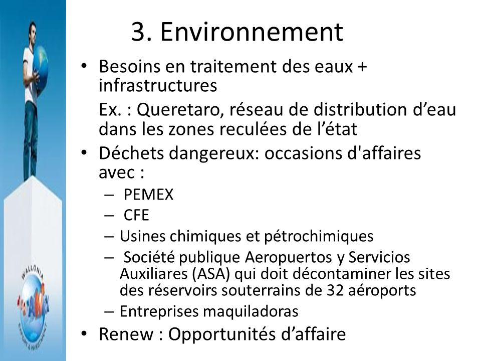 3. Environnement Besoins en traitement des eaux + infrastructures Ex. : Queretaro, réseau de distribution deau dans les zones reculées de létat Déchet
