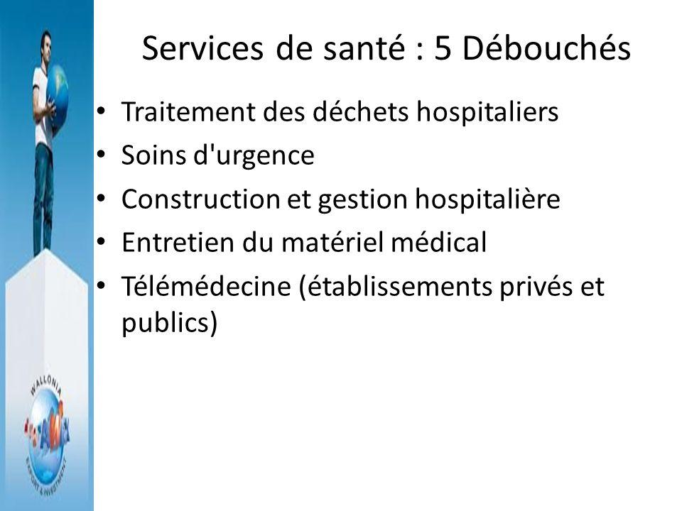Services de santé : 5 Débouchés Traitement des déchets hospitaliers Soins d'urgence Construction et gestion hospitalière Entretien du matériel médical