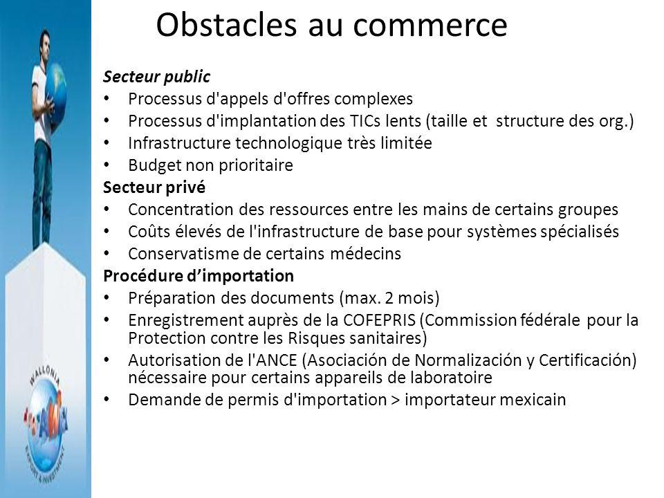 Obstacles au commerce Secteur public Processus d'appels d'offres complexes Processus d'implantation des TICs lents (taille et structure des org.) Infr