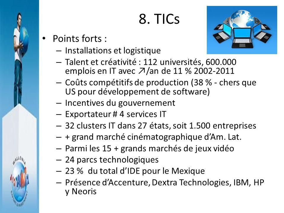 8. TICs Points forts : – Installations et logistique – Talent et créativité : 112 universités, 600.000 emplois en IT avec /an de 11 % 2002-2011 – Coût
