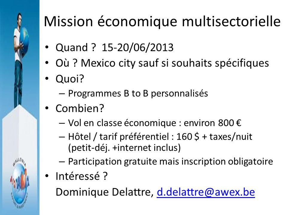 Mission économique multisectorielle Quand ? 15-20/06/2013 Où ? Mexico city sauf si souhaits spécifiques Quoi? – Programmes B to B personnalisés Combie