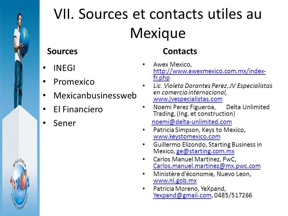 VII. Sources et contacts utiles au Mexique Sources INEGI Promexico Mexicanbusinessweb El Financiero Sener Contacts Awex Mexico, http://www.awexmexico.