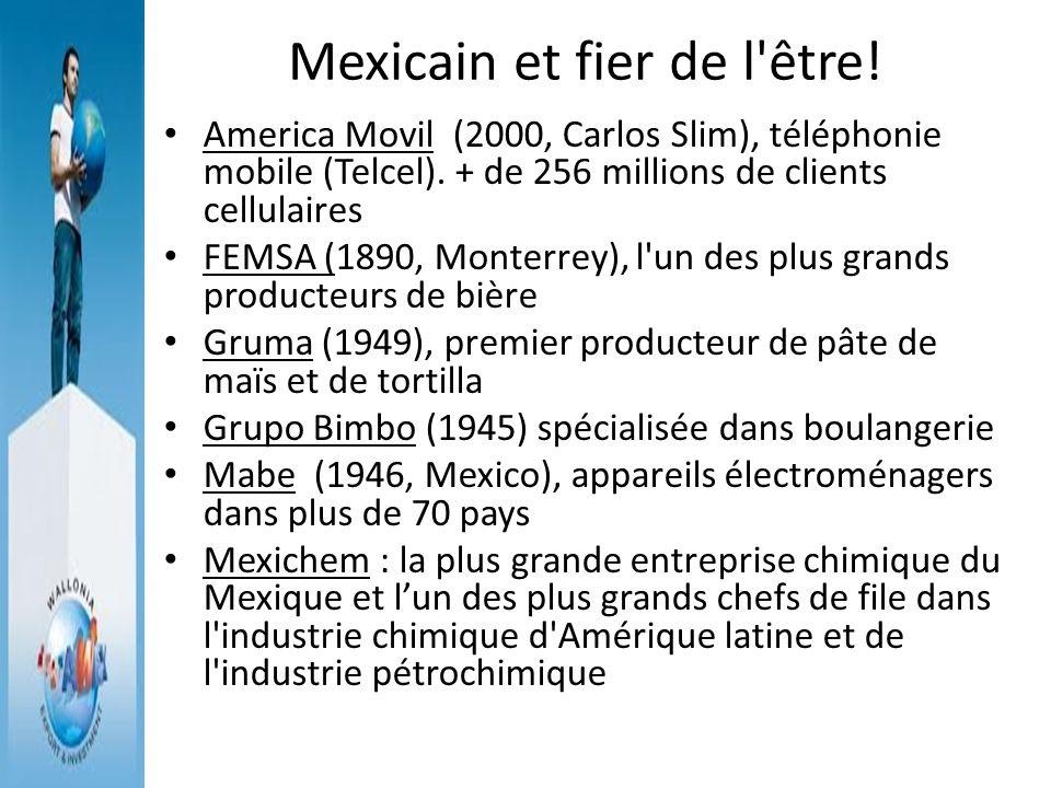 Mexicain et fier de l'être! America Movil (2000, Carlos Slim), téléphonie mobile (Telcel). + de 256 millions de clients cellulaires FEMSA (1890, Monte