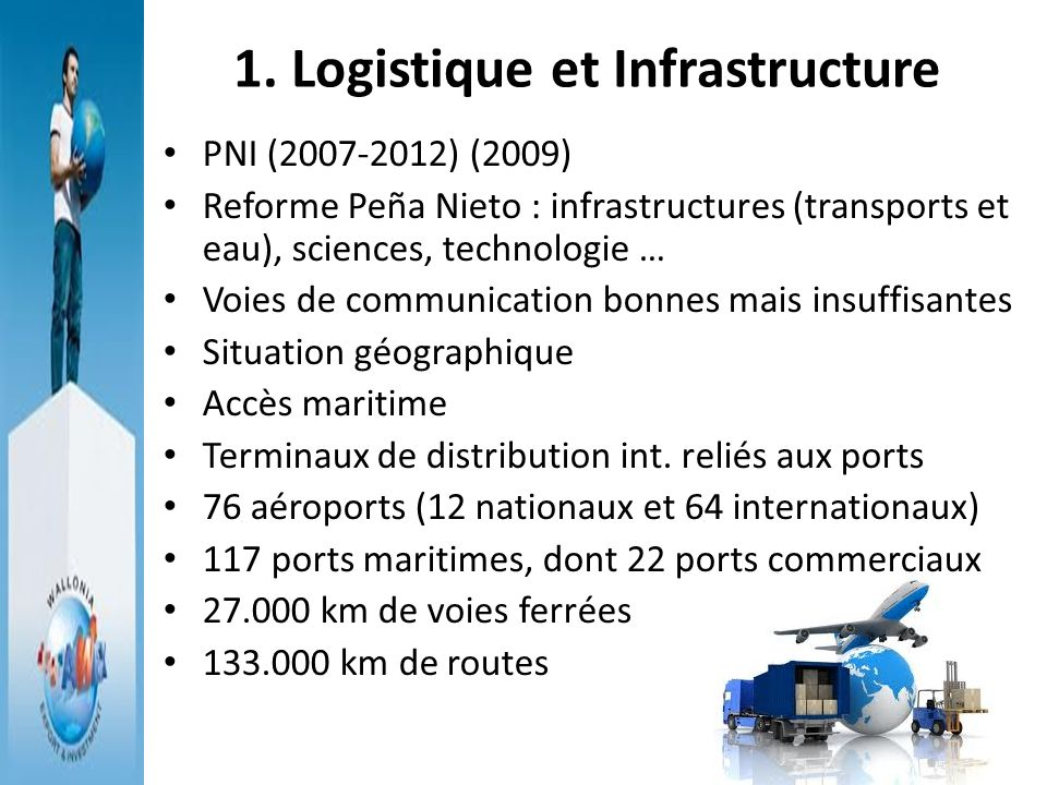 Infrastructures de transport: Opportunités daffaire Demande de réseaux routiers (Autoroutes= 98 % du transport intérieur de voyageurs ) 26,3 % transport marchandises par voies ferroviaires Renew (métros, trains légers…) Ferromex investira 2.300 millions USD entre 2013-2018