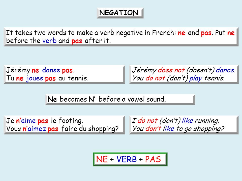 It takes two words to make a verb negative in French: ne and pas.
