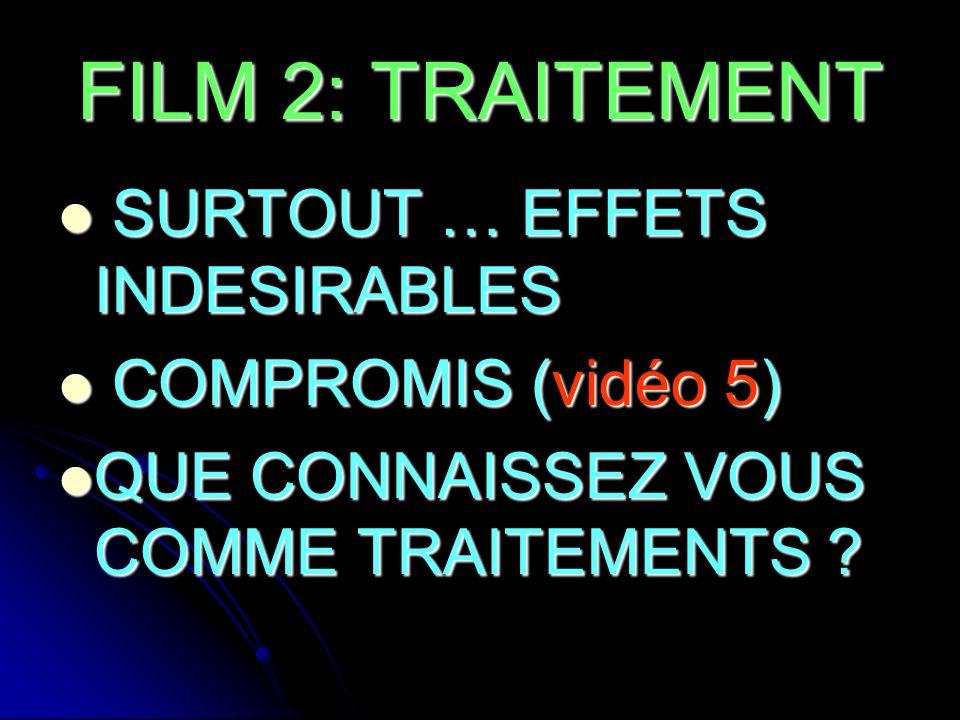 FILM 2: TRAITEMENT SURTOUT … EFFETS INDESIRABLES SURTOUT … EFFETS INDESIRABLES COMPROMIS (vidéo 5) COMPROMIS (vidéo 5) QUE CONNAISSEZ VOUS COMME TRAIT