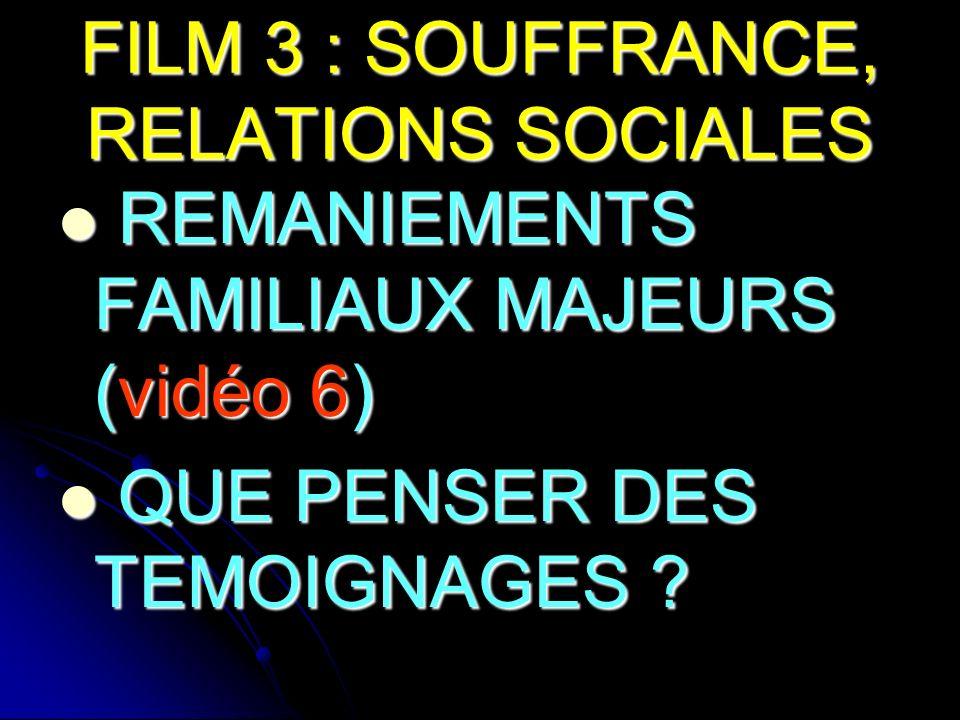 FILM 3 : SOUFFRANCE, RELATIONS SOCIALES REMANIEMENTS FAMILIAUX MAJEURS (vidéo 6) REMANIEMENTS FAMILIAUX MAJEURS (vidéo 6) QUE PENSER DES TEMOIGNAGES ?