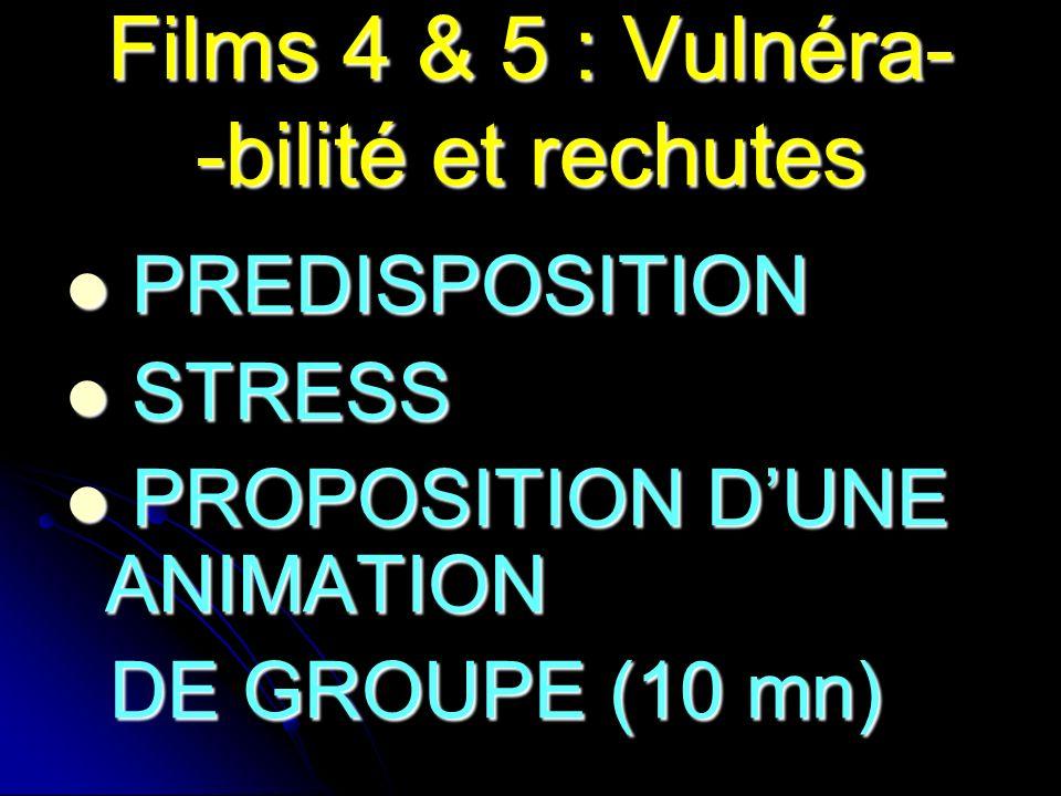 Films 4 & 5 : Vulnéra- -bilité et rechutes PREDISPOSITION PREDISPOSITION STRESS STRESS PROPOSITION DUNE ANIMATION PROPOSITION DUNE ANIMATION DE GROUPE