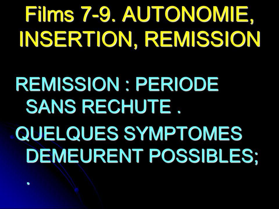 Films 7-9. AUTONOMIE, INSERTION, REMISSION REMISSION : PERIODE SANS RECHUTE. QUELQUES SYMPTOMES DEMEURENT POSSIBLES;.