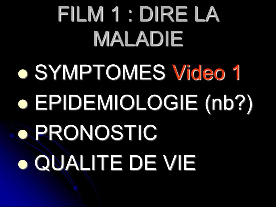 FILM 1 : DIRE LA MALADIE SYMPTOMES Video 1 SYMPTOMES Video 1 EPIDEMIOLOGIE (nb?) EPIDEMIOLOGIE (nb?) PRONOSTIC PRONOSTIC QUALITE DE VIE QUALITE DE VIE