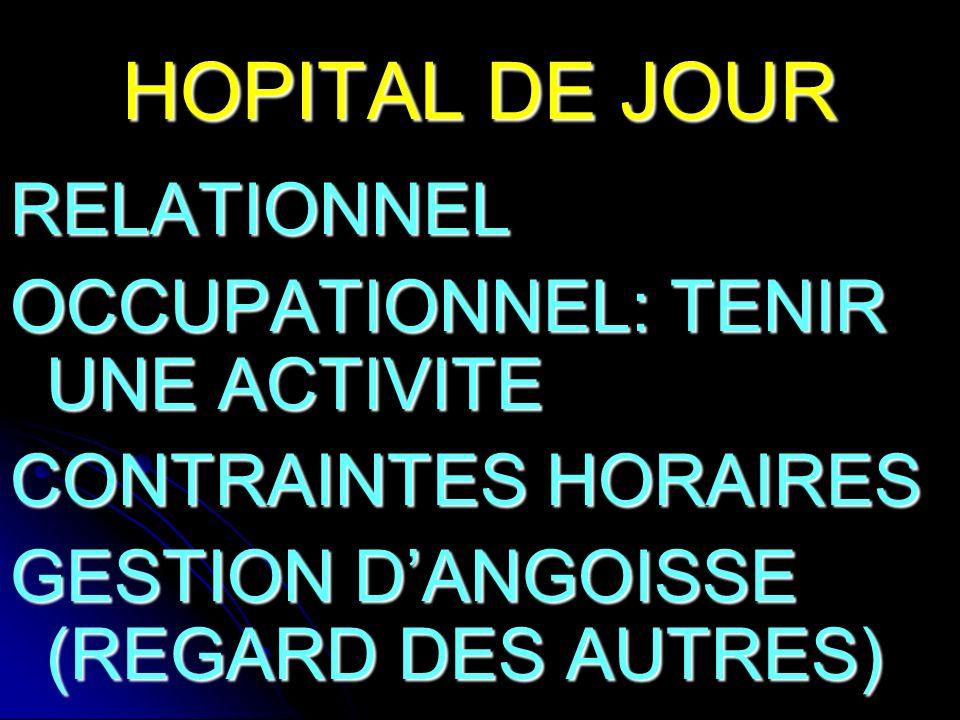 HOPITAL DE JOUR RELATIONNEL OCCUPATIONNEL: TENIR UNE ACTIVITE CONTRAINTES HORAIRES GESTION DANGOISSE (REGARD DES AUTRES)