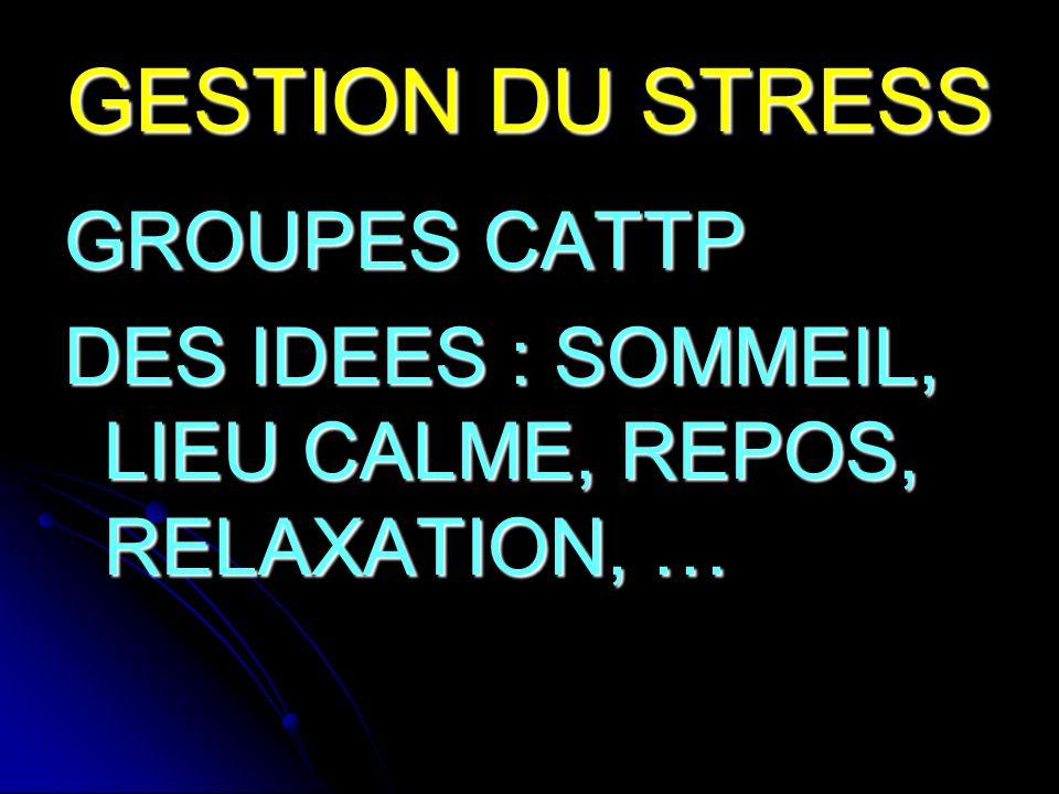 GESTION DU STRESS GROUPES CATTP DES IDEES : SOMMEIL, LIEU CALME, REPOS, RELAXATION, …