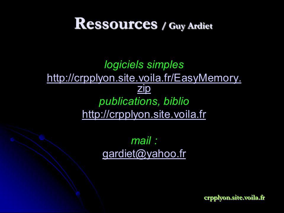 Ressources / Guy Ardiet logiciels simples http://crpplyon.site.voila.fr/EasyMemory. zip publications, biblio http://crpplyon.site.voila.fr mail : gard