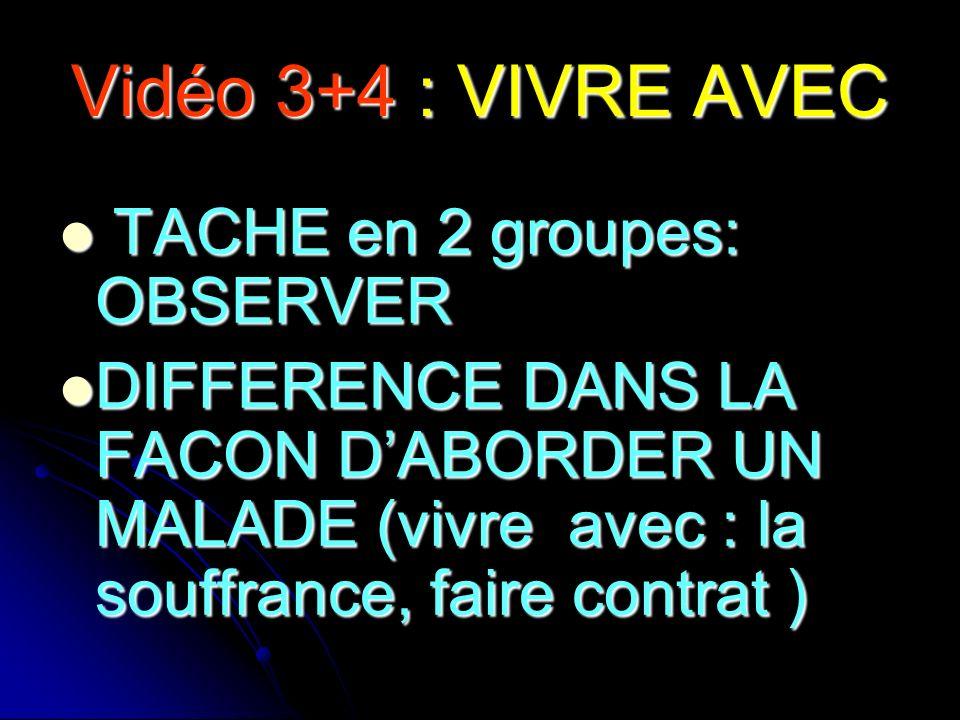 Vidéo 3+4 : VIVRE AVEC TACHE en 2 groupes: OBSERVER TACHE en 2 groupes: OBSERVER DIFFERENCE DANS LA FACON DABORDER UN MALADE (vivre avec : la souffran