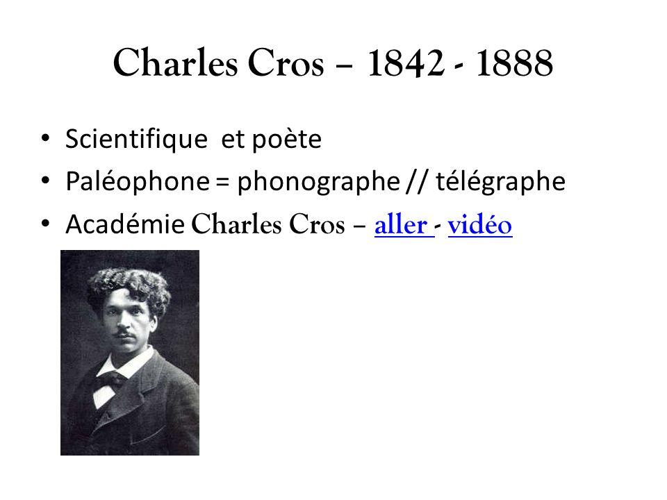 Charles Cros – 1842 - 1888 Scientifique et poète Paléophone = phonographe // télégraphe Académie Charles Cros – aller - vidéoaller vidéo