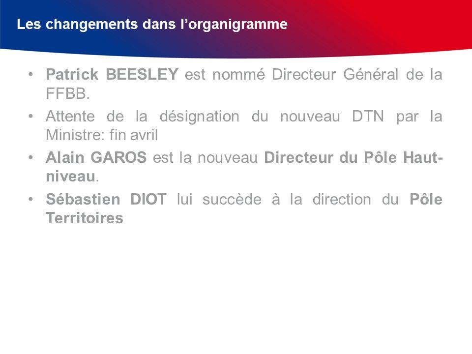 Les changements dans lorganigramme Patrick BEESLEY est nommé Directeur Général de la FFBB. Attente de la désignation du nouveau DTN par la Ministre: f