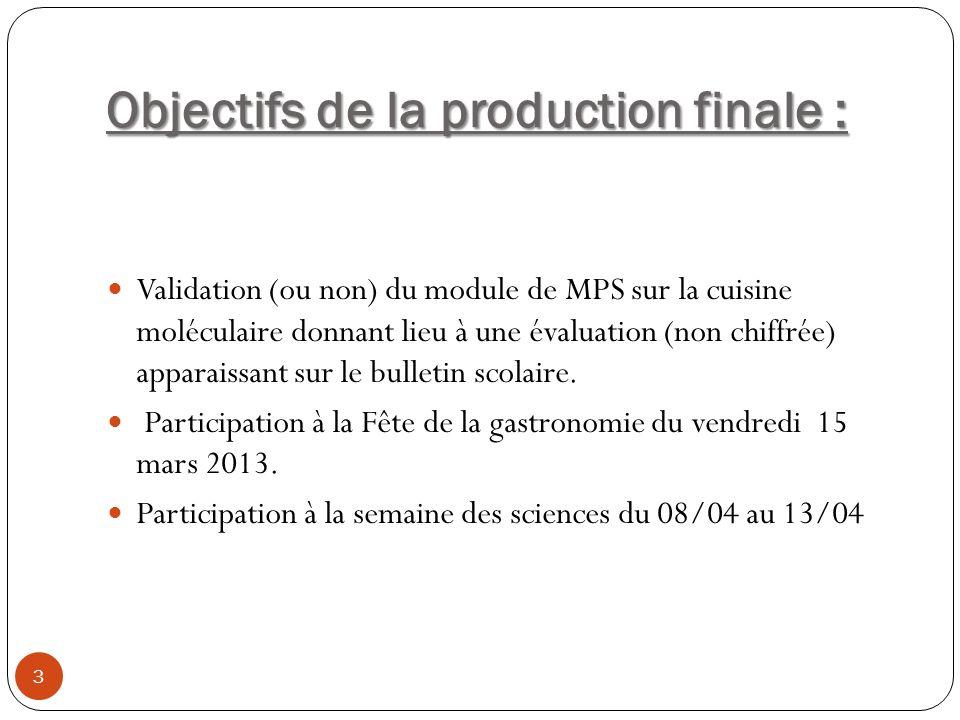 Objectifs de la production finale : Validation (ou non) du module de MPS sur la cuisine moléculaire donnant lieu à une évaluation (non chiffrée) appar