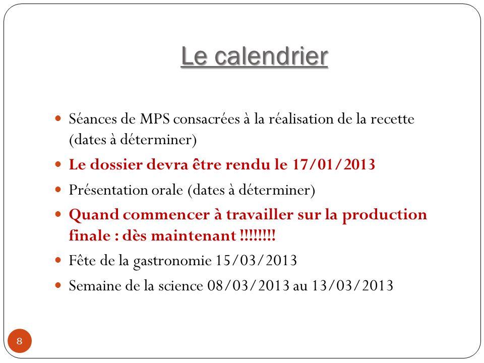 Le calendrier 8 Séances de MPS consacrées à la réalisation de la recette (dates à déterminer) Le dossier devra être rendu le 17/01/2013 Présentation o