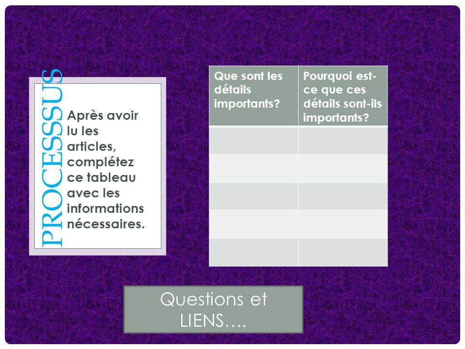 PROCESSSUS Après avoir lu les articles, complétez ce tableau avec les informations nécessaires. Que sont les détails importants? Pourquoi est- ce que