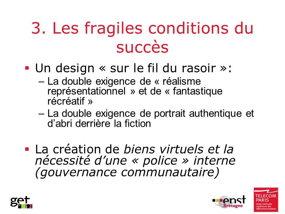 3. Les fragiles conditions du succès Un design « sur le fil du rasoir »: –La double exigence de « réalisme représentationnel » et de « fantastique réc