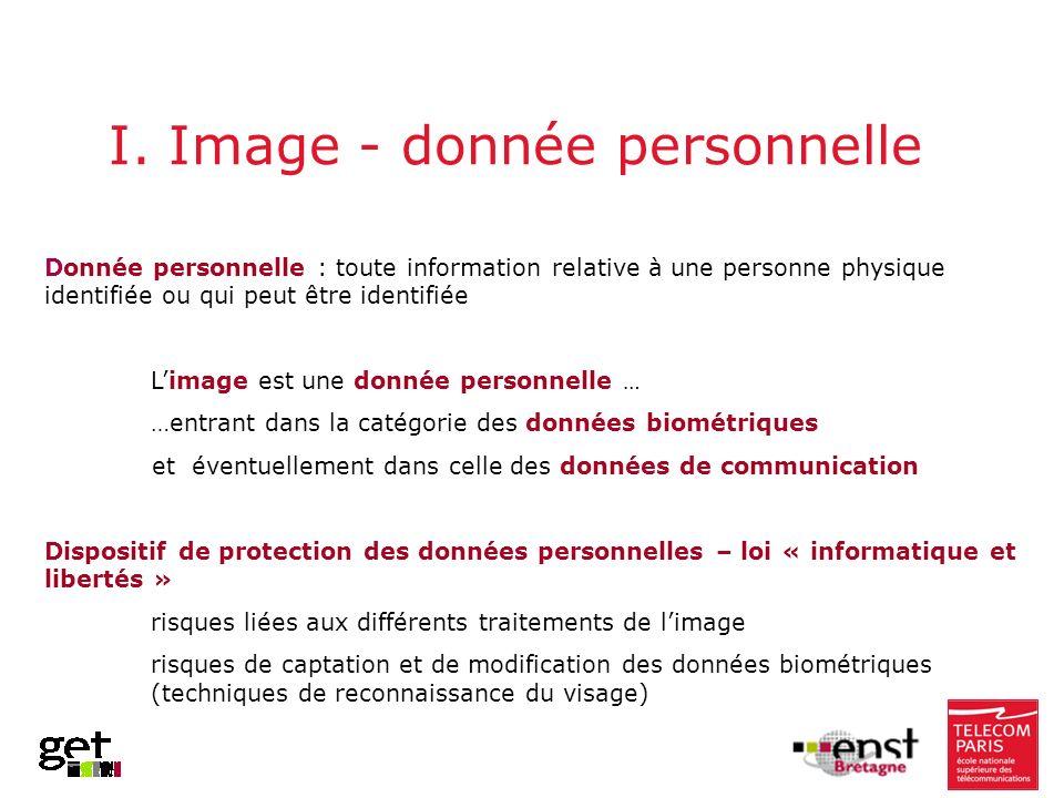 I. Image - donnée personnelle Donnée personnelle : toute information relative à une personne physique identifiée ou qui peut être identifiée Limage es