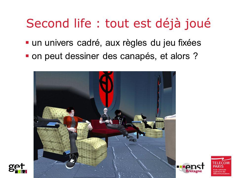 Second life : tout est déjà joué un univers cadré, aux règles du jeu fixées on peut dessiner des canapés, et alors ?