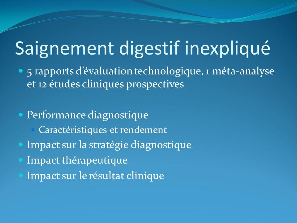 Saignement digestif inexpliqué 5 rapports dévaluation technologique, 1 méta-analyse et 12 études cliniques prospectives Performance diagnostique Carac