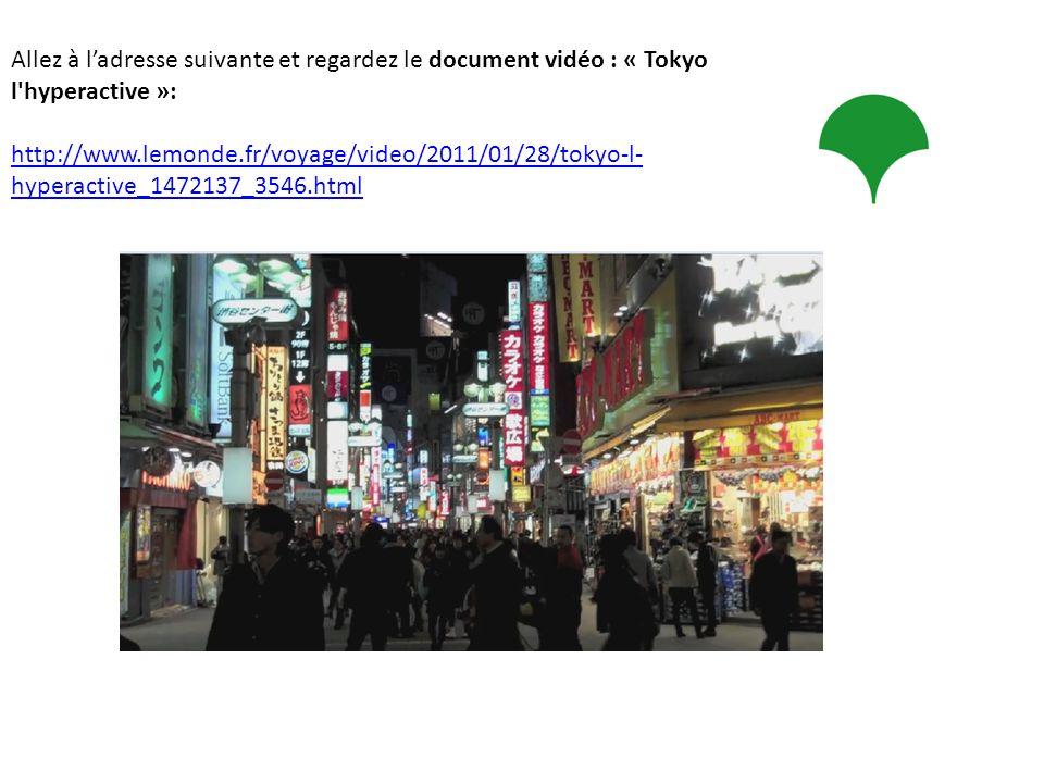 Allez à ladresse suivante et regardez le document vidéo : « Tokyo l'hyperactive »: http://www.lemonde.fr/voyage/video/2011/01/28/tokyo-l- hyperactive_