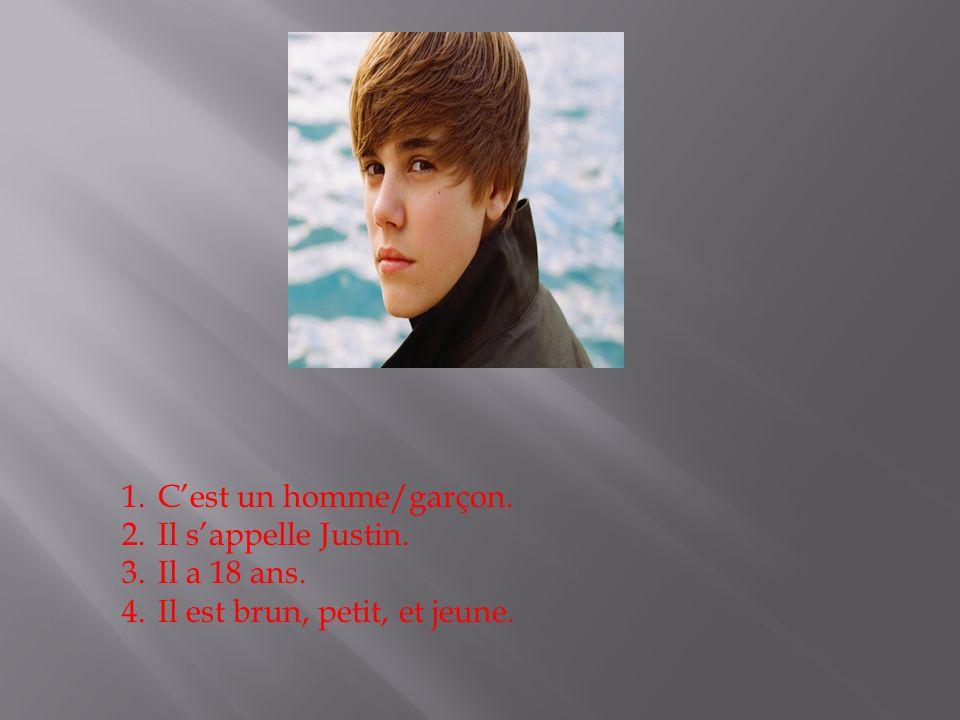 1.Cest un homme/garçon. 2.Il sappelle Justin. 3.Il a 18 ans. 4.Il est brun, petit, et jeune.