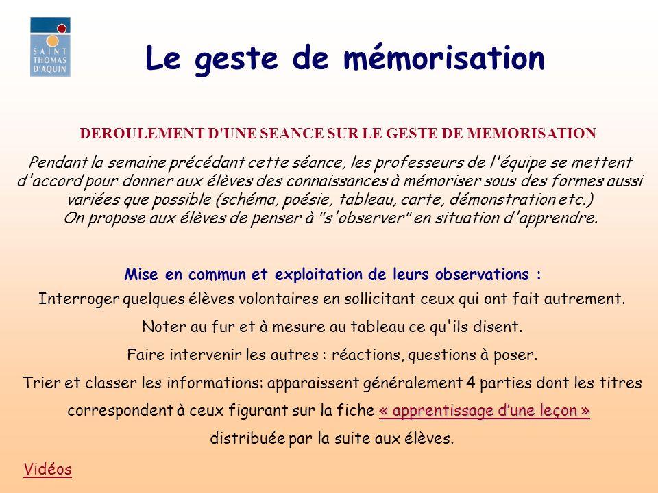 Le geste de mémorisation Commentaire après lecture silencieuse de la fiche : Les étapes proposées correspondent aux titres trouvés précédemment: inversion possible des étapes 2) et 3).