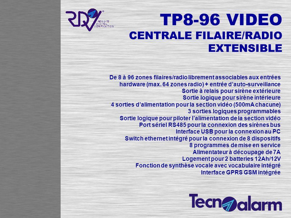 TP8-96 VIDEO CENTRALE FILAIRE/RADIO EXTENSIBLE De 8 à 96 zones filaires/radio librement associables aux entrées hardware (max. 64 zones radio) + entré