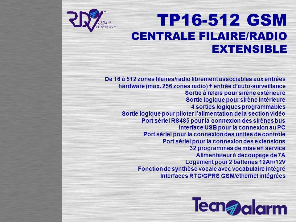 TP16-512 GSM CENTRALE FILAIRE/RADIO EXTENSIBLE De 16 à 512 zones filaires/radio librement associables aux entrées hardware (max. 256 zones radio) + en