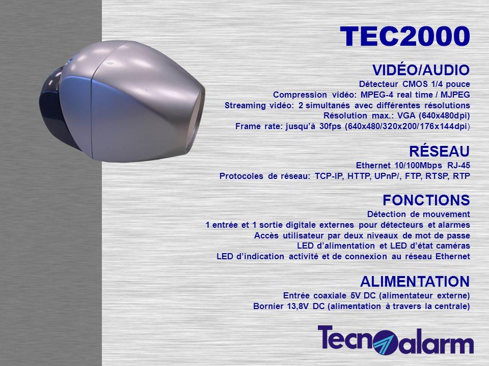 TEC2000 VIDÉO/AUDIO Détecteur CMOS 1/4 pouce Compression vidéo: MPEG-4 real time / MJPEG Streaming vidéo: 2 simultanés avec différentes résolutions Ré