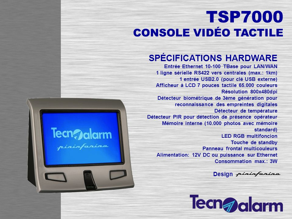 CARACTÉRISTIQUES Compression vidéo: MPEG-4 SP Résolution max.: D1 (720x576 dpi) Protocoles de réseau: TCP, FTP, HTTP, RTSP Stream video: jusquà 4 simultanés Frame rate: Avec 4 stream = 8 frame par seconde totale Avec 1 stream = max.