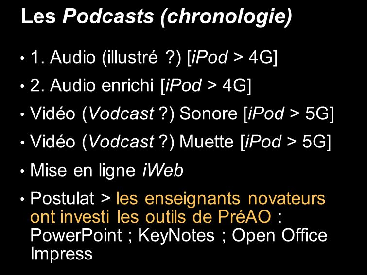 Les Podcasts (chronologie) 1. Audio (illustré ) [iPod > 4G] 2.