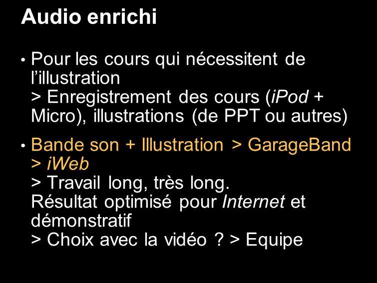 Audio enrichi Pour les cours qui nécessitent de lillustration > Enregistrement des cours (iPod + Micro), illustrations (de PPT ou autres) Bande son + Illustration > GarageBand > iWeb > Travail long, très long.