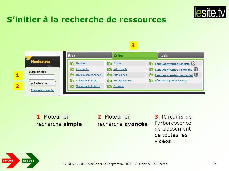 SCEREN-CNDP – Version du 23 septembre 2008 – C. Mertz & JP Aubertin25 Sinitier à la recherche de ressources 2. Moteur en recherche avancée 1. Moteur e