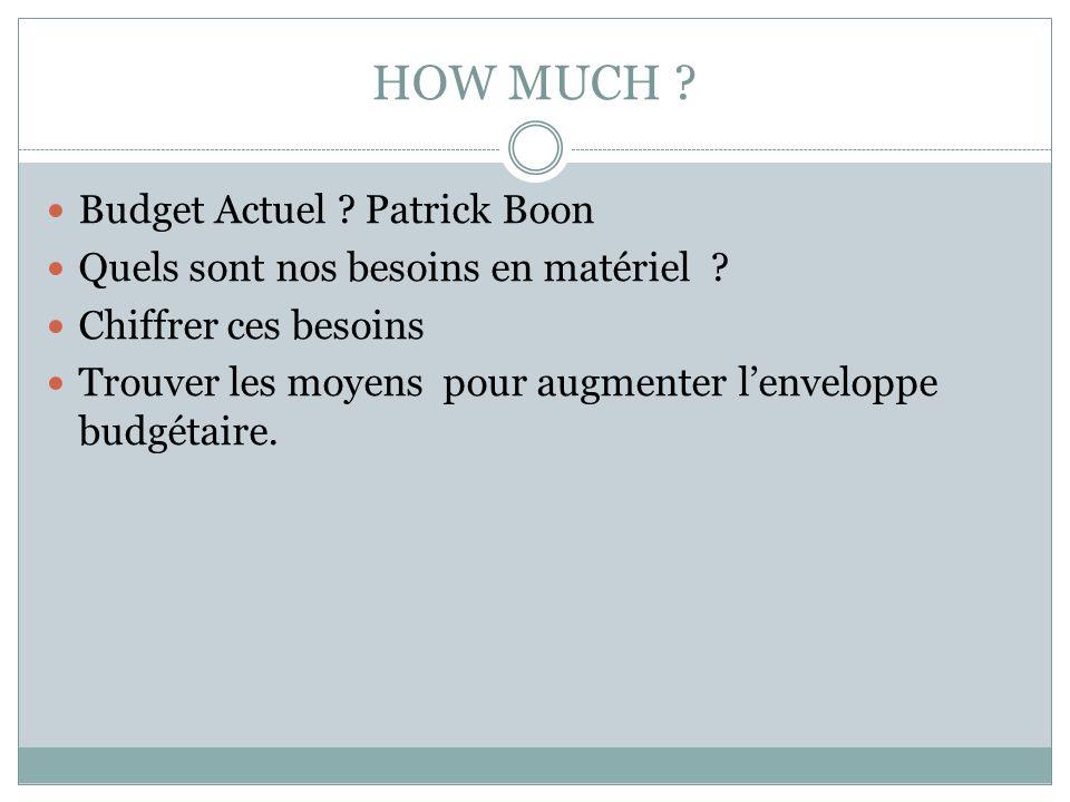 HOW MUCH .Budget Actuel . Patrick Boon Quels sont nos besoins en matériel .