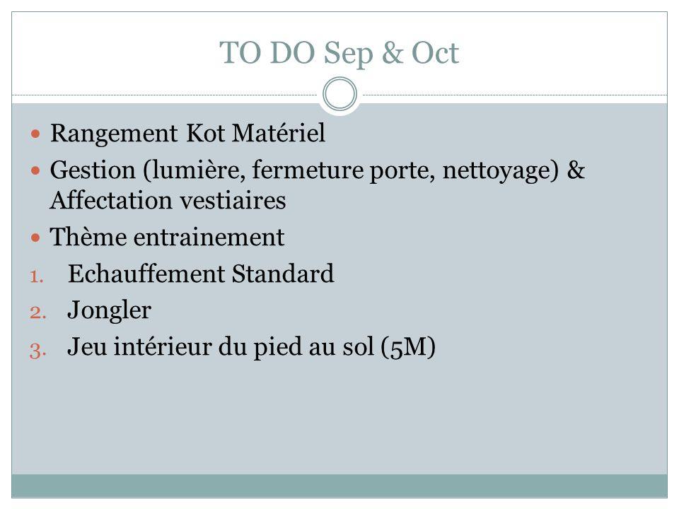 TO DO Sep & Oct Rangement Kot Matériel Gestion (lumière, fermeture porte, nettoyage) & Affectation vestiaires Thème entrainement 1.