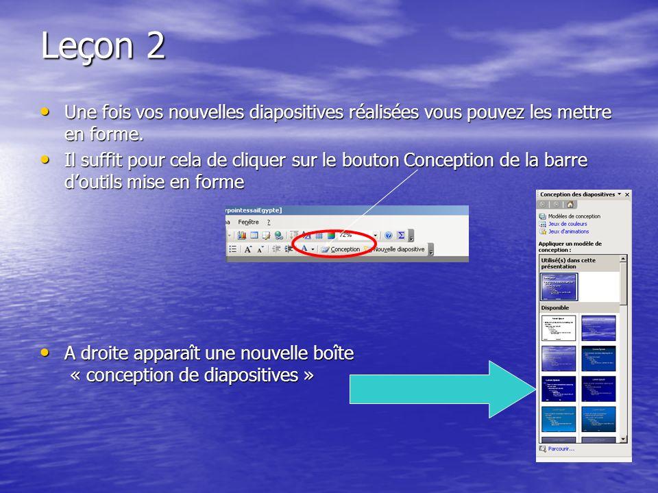 Leçon 1 Complétez la première diapositive par du texte, des images, du son, de la vidéo, des liens web… bref toutes les ressources peuvent être introd